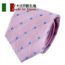 【ネクタイ・イタリア製生地】小紋・ピンク・日本製
