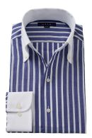 プレミアムコットン・からみ織り・イタリアンカラー・ボタンダウン・クレリック・スキッパー・第一ボタン無し
