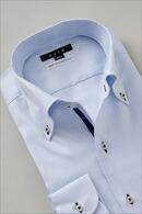 タイトフィット・100番手双糸・イージーケア・イタリアンカラー・ボタンダウン・第一ボタンあり