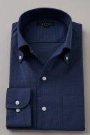 プレミアムコットン・からみ織り・イタリアンカラー・ボタンダウン・第一ボタンあり