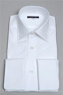 袖後付け立体パターン・プレミアムファブリック120番手・プレミアムコットン・ダブルカフス・ワイドカラー・ポケット無し・日本製