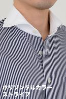 ビズポロ・ストライプ・長袖・ニットシャツ・ニットフィット・クールマックス・イージーケア・ホリゾンタルカラー・クレリック