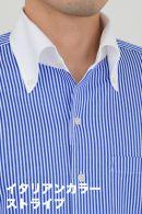 ビズポロ・ストライプ・長袖・ニットシャツ・ニットフィット・クールマックス・イージーケア・イタリアンカラー・ボタンダウン・クレリック・第一ボタンあり