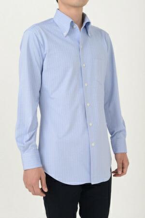【ビズポロ・ヘリンボーン】【長袖】ニットシャツ・クールマックス・イージーケア・イタリアンカラー・ボタンダウン・第一ボタンあり