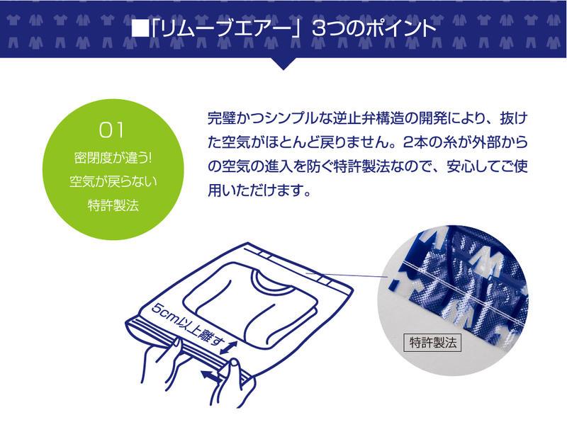 衣類圧縮袋 糸弁採用 特許取得リムーブエアー 衣類圧縮パック