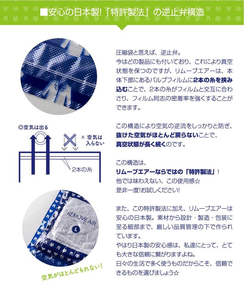 衣類圧縮袋リムーブエアー 逆止弁の構造 衣類圧縮パック