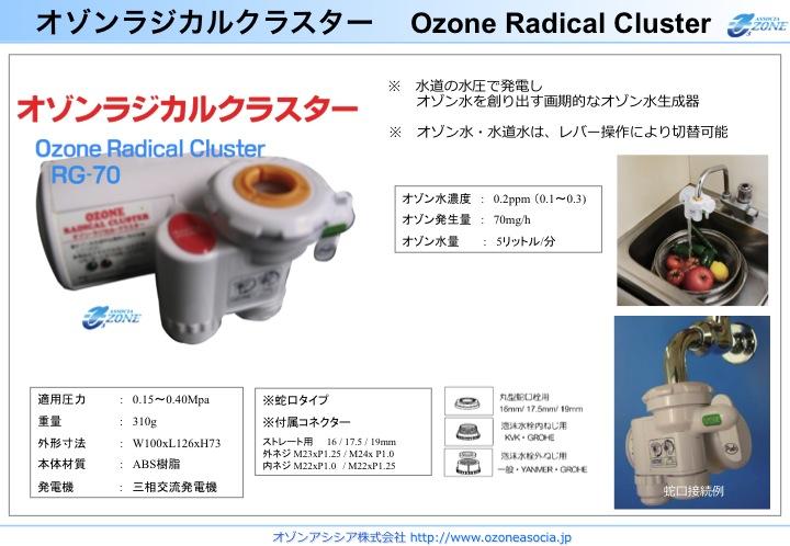 小型オゾン水生成器 オゾンラジカルクラスターRG-70