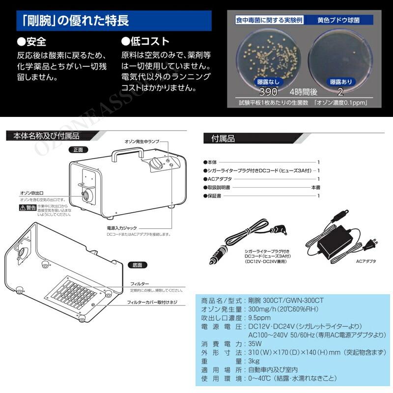剛腕300 GWN-300CT オゾン脱臭器の特徴