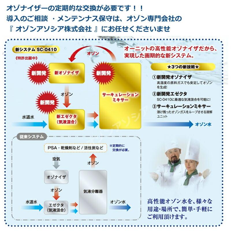 オゾン水生成装置 SC-0410 オゾン水生成装置の利用方法