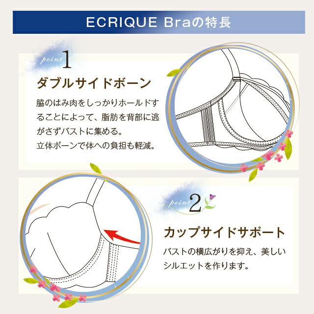 ECRIQUEBraエクリークブラの特長point1ダブルサイドボーン、2カップサイドサポート