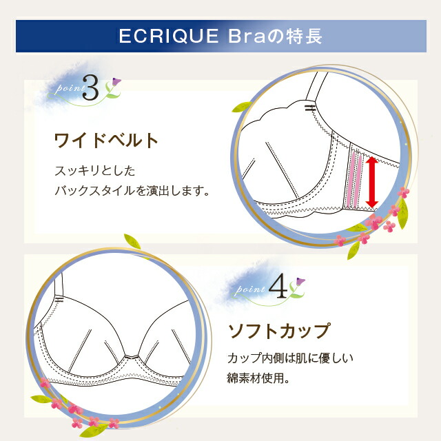 ECRIQUEBra エクリークブラの特長point3ワイベルト、4ソフトカップ