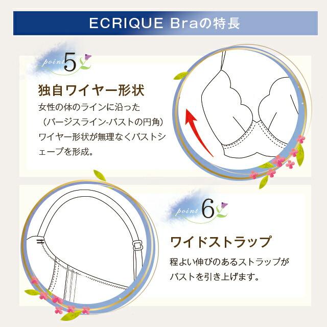 ECRIQUEBra エクリークブラの特長point5独自ワイヤー形状、6ワイドストラップ