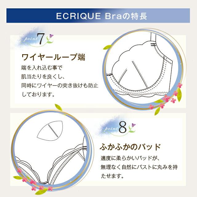 ECRIQUEBra エクリークブラの特長point7ワイヤーループ端、8ふかふかのパッド