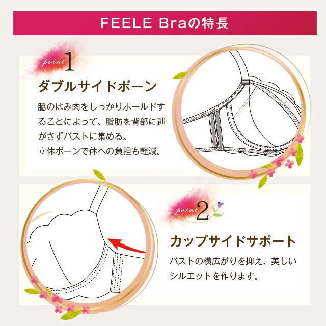 FEELE Braの特長point1ダブルサイドボーン、2カップサイドサポート