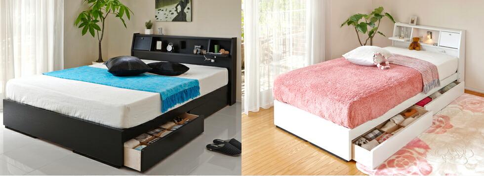 カントリー調のオシャレな、棚付きすのこベッド