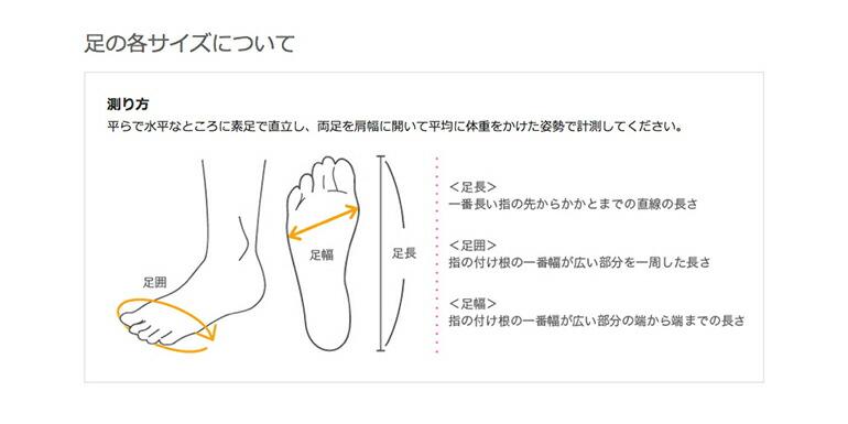 足の各サイズの測り方