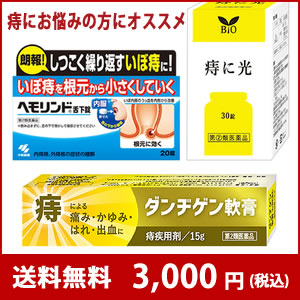 小林製薬 ヘモリンド20錠 + 痔に光30錠 + ダンヂゲン軟膏15g