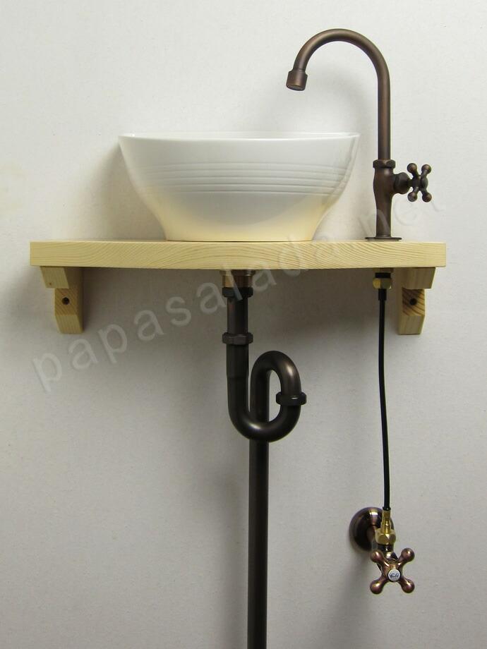グースネック立水栓(ブロンズ)×【Essence】クレセント手洗器×天板×給排水部材フルセット