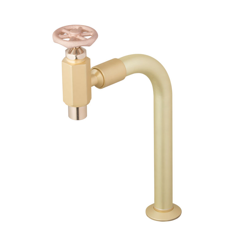 ラダーハンドル式クランク型単水栓(マットゴールド)