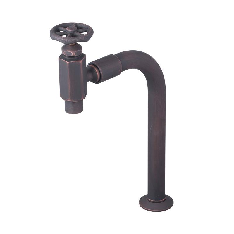 ラダーハンドル式クランク型単水栓(ブロンズ)