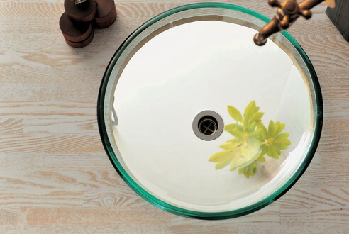 【AQUA】クリアー/ガラス洗面器