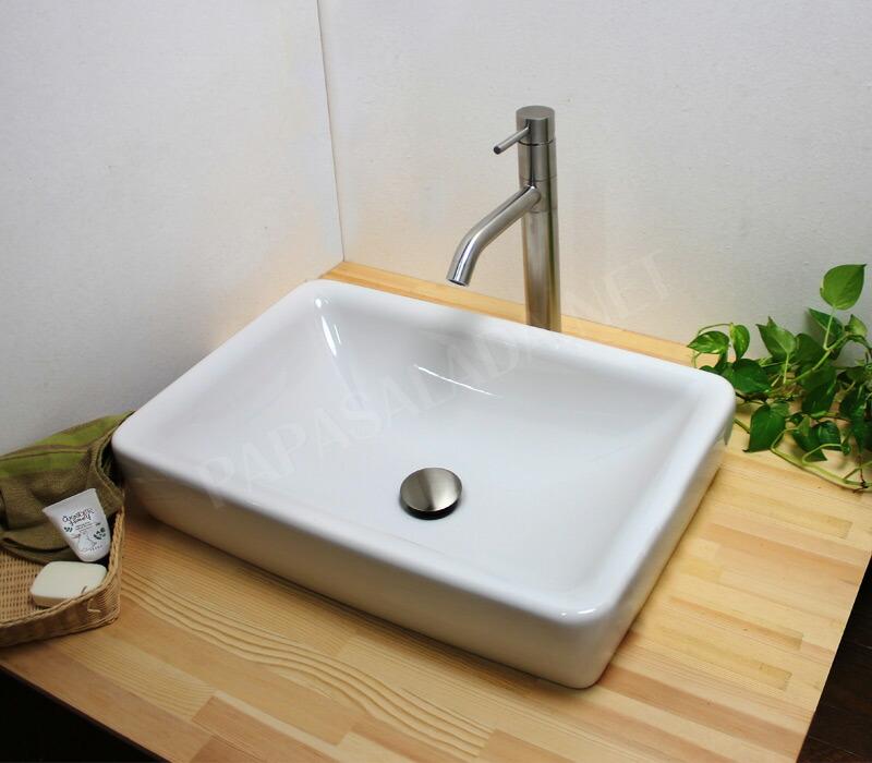 【fusion】SSL166 ステンレス水栓&【LAUFEN】置型洗面器・排水金具セット