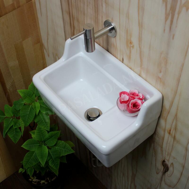 【KOLM】ステンレスガーデン水栓&【Essence】壁付型手洗器Sレクタングル(横水栓)フルセット (床排水)