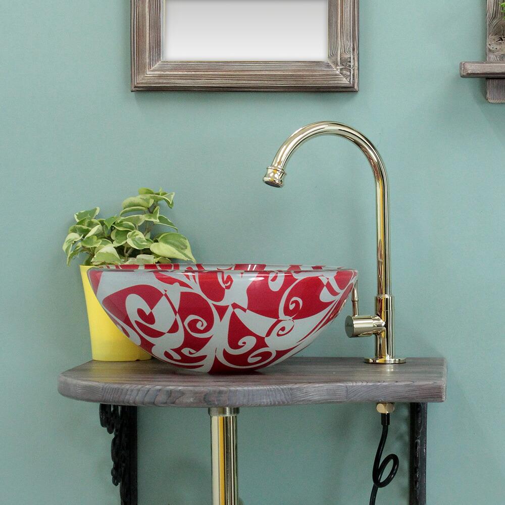 アンティーク水栓とガラスボウルのコラボレーション、お得な上部排水金具付き
