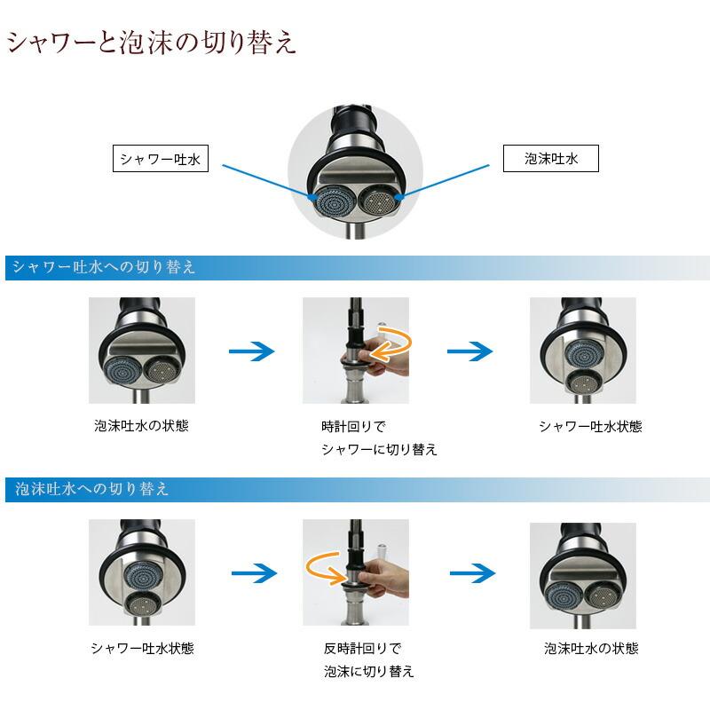 HornbeamIvyシャワーと泡沫の切り替え