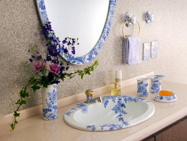 染付薔薇絵(そめつけばらえ)有田焼日本製洗面ボウル・手洗器・スイッチプレート