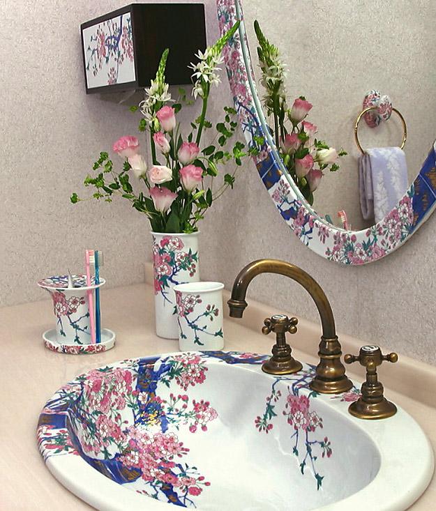 染錦金彩桜絵(そめにしききんさいさくらえ)有田焼日本製洗面ボウル・手洗器・スイッチプレート