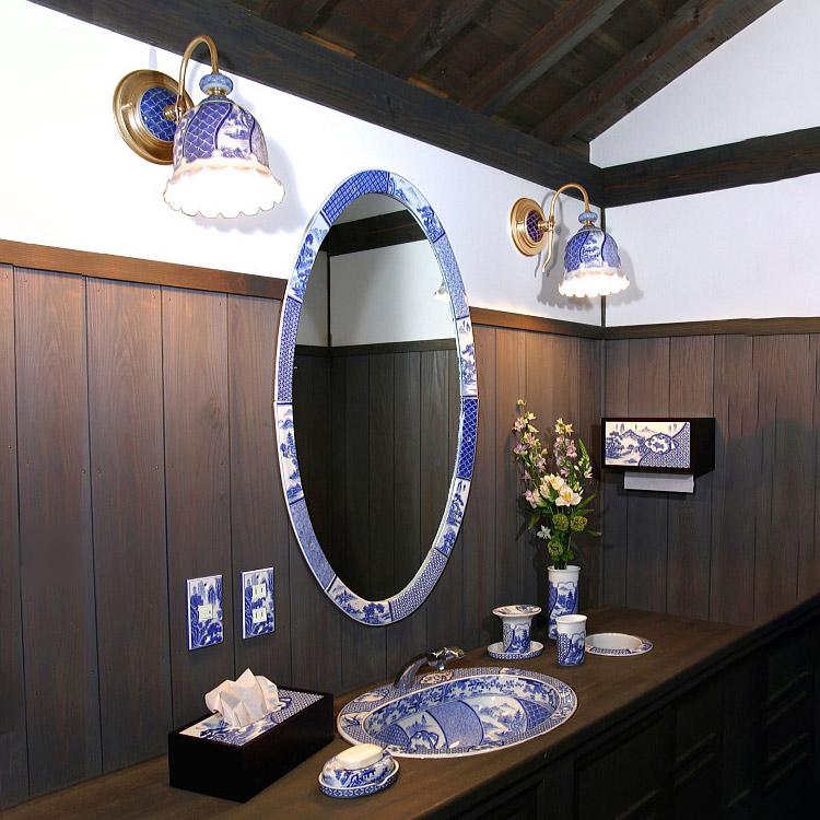 染付祥瑞(そめつけしょんずい)有田焼日本製洗面ボウル・手洗器・スイッチプレート