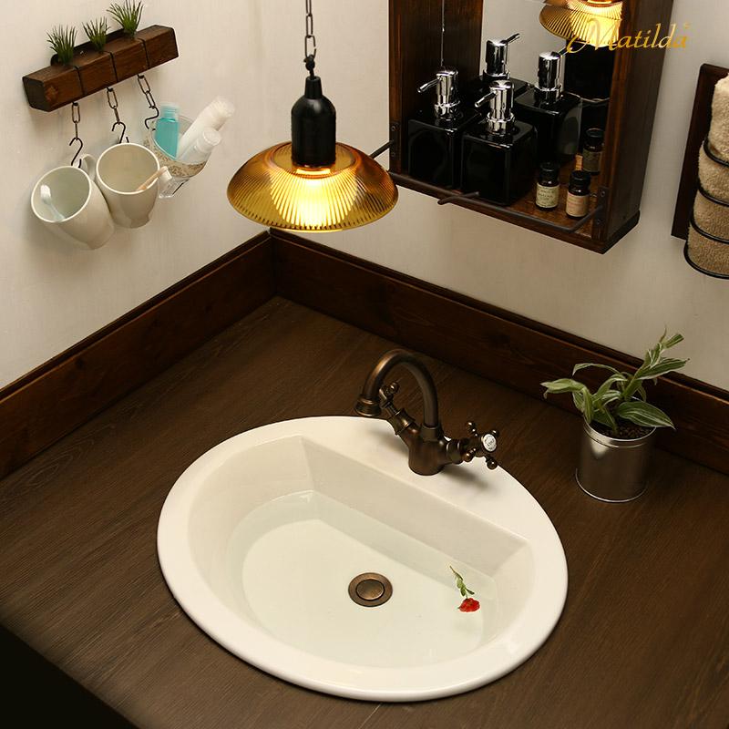 アンティーク調洗面混合栓のおしゃれな洗面3点セット