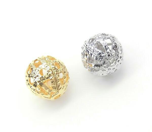 透かし玉★メタルボール★通し穴付き 6mm★K16GPと本ロジウムカラー