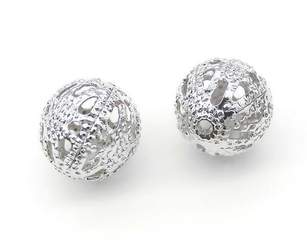 透かし玉★メタルボール★通し穴付き 8mm★K16GPと本ロジウムカラー