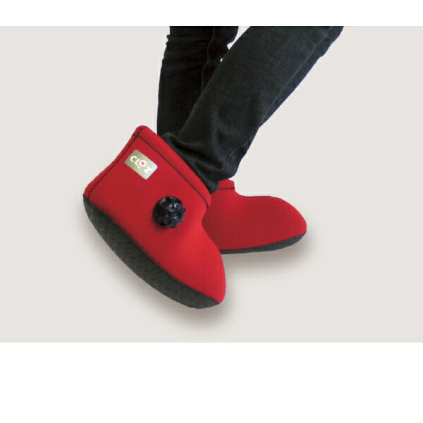 683114a9b39e  (navy red) belonging to short bottom for  hot-water bottle shoes  CLOZ  (クロッツ) soft hot-water bottle foot