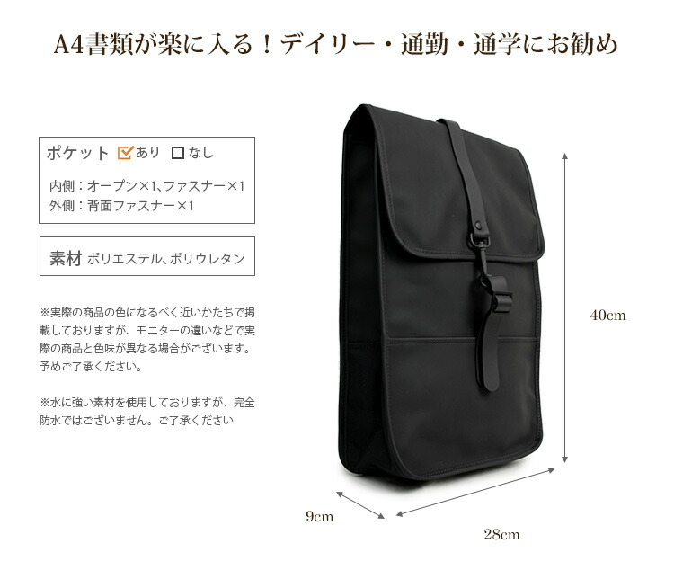 RAINS BACKPACK MINI カラー1