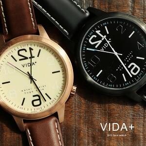 時計 腕時計 『 文字盤反転デザイン 』BIGフェイスウォッチ レザーバンド UNISEX兼用サイズ スクリューバック製法 クォーツ VOGA Original Brand. ブラック ブラウン メンズ レディース