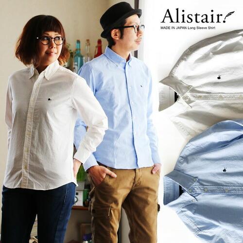 (アリステア) ALISTAIR 長袖 ボタンダウン シャツ 【silk hat and stick】刺繍 日本製 綿100% オックスフォード スリム ALISTAIR