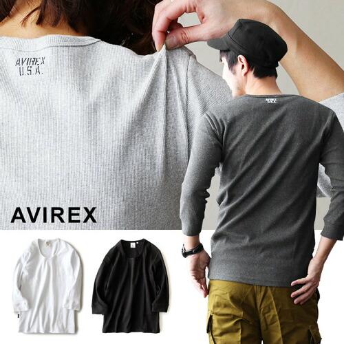 (アヴィレックス) AVIREX カットソー Tシャツ 7分袖 七分袖 Uネック リブ スパンフライス フィット
