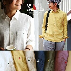 長袖 日本製  無地 シャツ ワンポイント ソフトリネン コットンオックス 生地 メンズ レディース 綿 麻 ホワイト ネイビー 紺  オリーブ 白 大きいサイズ 大きめ
