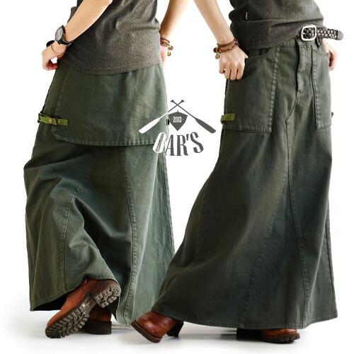 (オールズ) OAR'S スカート マキシ丈 ロングスカート ベイカー ハンター ポケット 綿100% 葛城 UNIONMADE パーツ