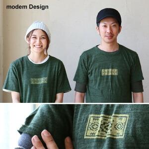 Tシャツ 半袖 クルーネック 綿100% マシュマロコットン 日本製 ネイティブ プリント メンズ レディース 女性用 トップス カジュアル アメカジ 重ね着 着回し