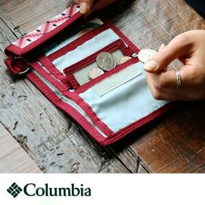 財布 ウォレット 3つ折り Columbia コロンビア チャコール ワイン モザイク柄