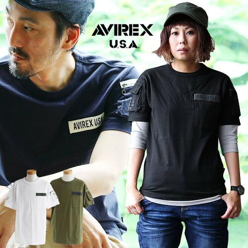 (アヴィレックス) AVIREX Tシャツ 半袖 ファティーグ ミリタリーデザイン クルーネック 綿100% 天竺