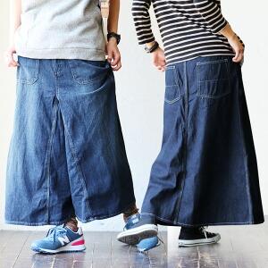 マキシスカート風 変形ガウチョ ワイドパンツ ジーンズ デニム レディース Mサイズ Lサイズ インディゴ ユーズド ブルー