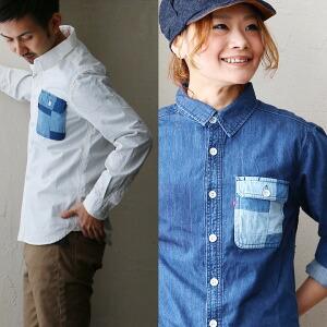 シャツ デニム生地 ワークシャツ パッチワーク胸ポケットデザイン 3本針ステッチ ホワイト 白 ブルー 青 メンズシャツ レディースシャツ
