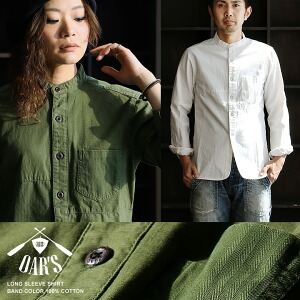 長袖 シャツ ミリタリーシャツ バンドカラー 綿100% バックサテン ヘリンボーン リップストップ 異素材切り替え メンズ レディース トップス 重ね着 カジュアル アメカジ
