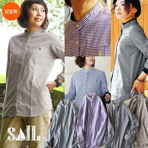 (セイル) SAIL 長袖 シャツ バンドカラー ギンガム チェック プルオーバー風 日本製 綿100%