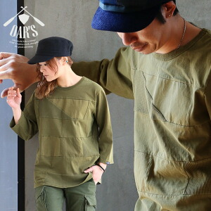 七分袖 カットソー パッチワーク 異素材 切り替え 綿100% 7分丈 レディース メンズ 春物 カジュアル